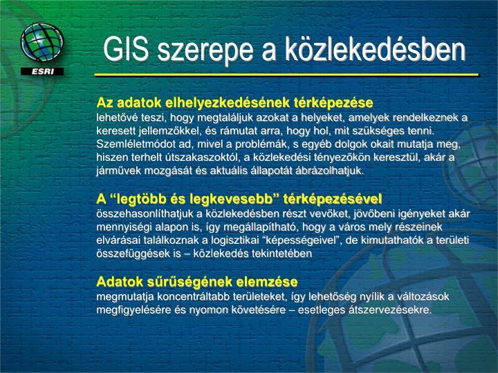 GIS szerepe a közlekedésben