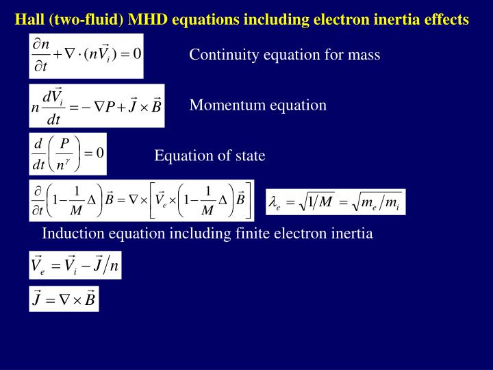 Hall (two-fluid) MHD equations including electron inertia effects