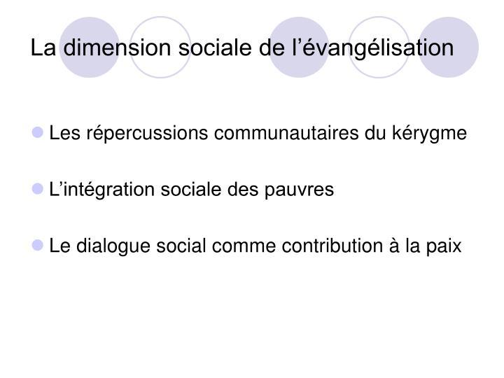 La dimension sociale de l'évangélisation