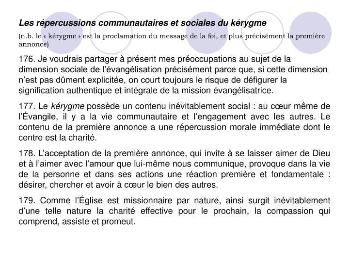 Les répercussions communautaires et sociales du kérygme