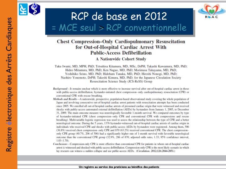 RCP de base en 2012