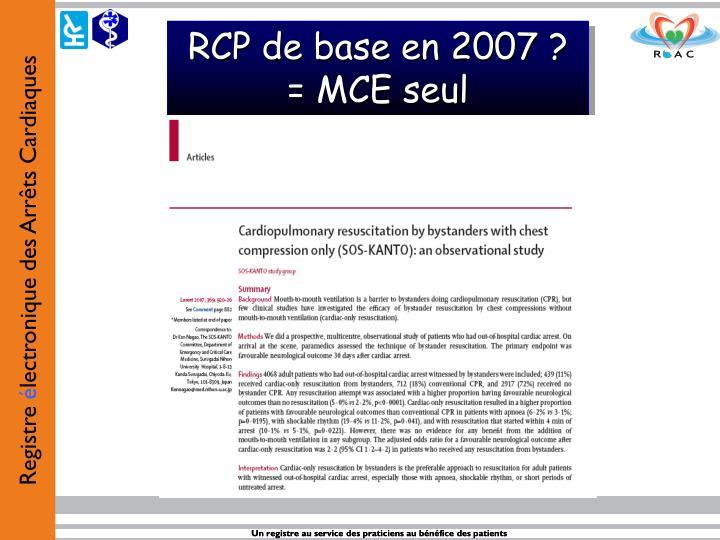 RCP de base en 2007 ?