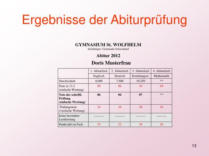Ergebnisse der Abiturprüfung