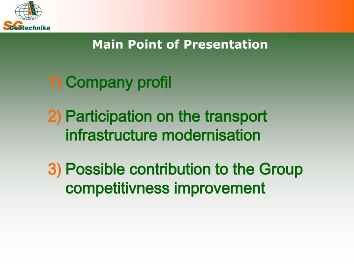 Main Point of Presentation