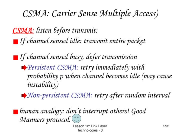 CSMA: Carrier Sense Multiple Access)