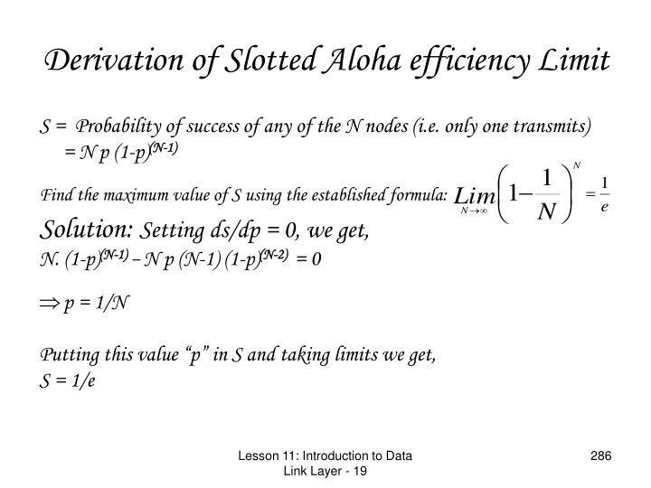 Derivation of Slotted Aloha efficiency Limit
