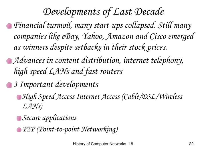Developments of Last Decade
