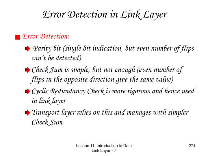 Error Detection in Link Layer