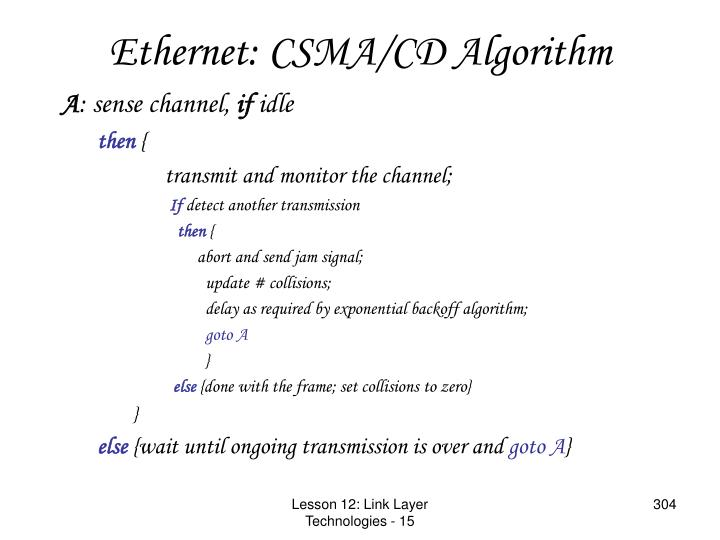Ethernet: CSMA/CD Algorithm