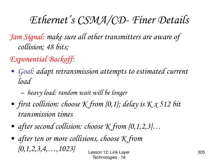 Ethernet's CSMA/CD- Finer Details