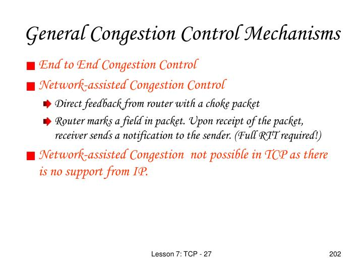 General Congestion Control Mechanisms