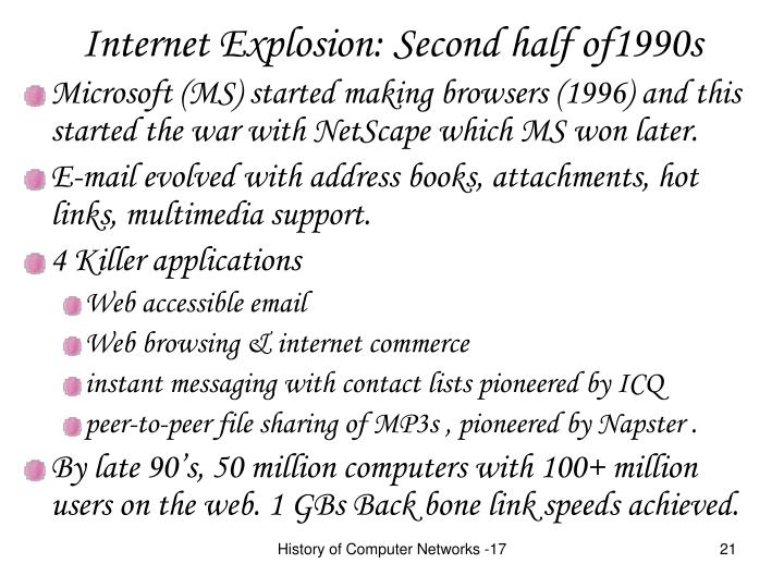 Internet Explosion: Second half of1990s