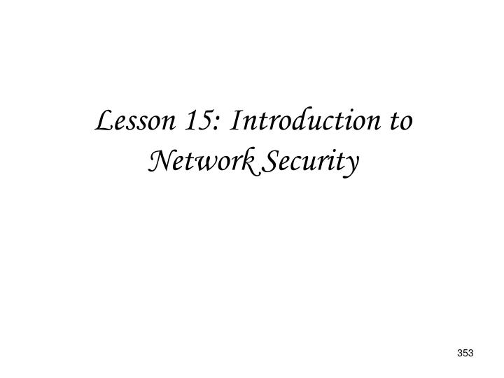 Lesson 15: Introduction to Network Security