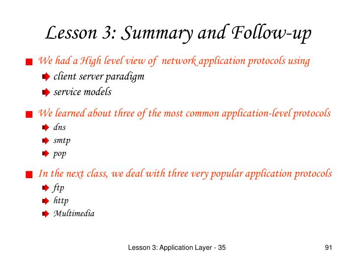 We had a High level view of  network application protocols using