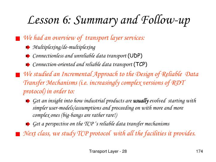 We had an overview of  transport layer services:
