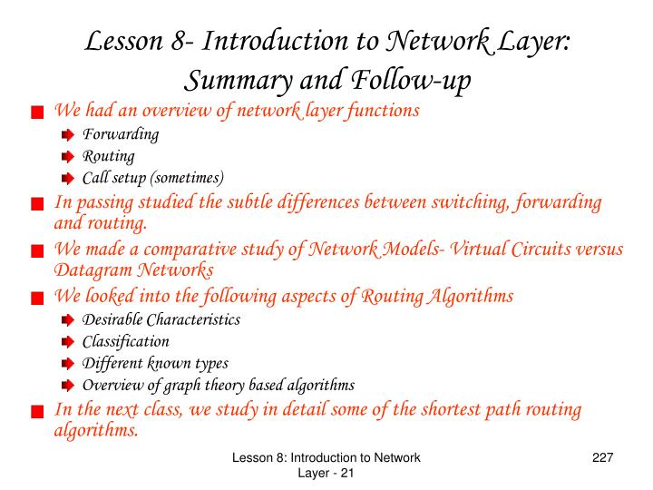 We had an overview of network layer functions