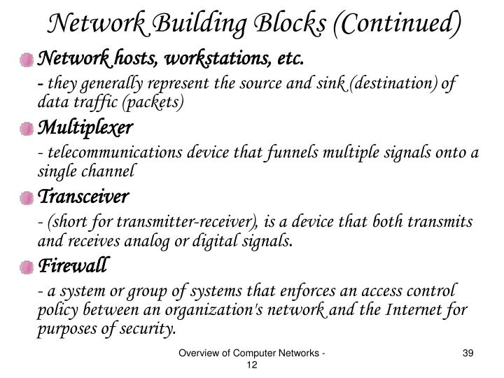 Network Building Blocks (Continued)