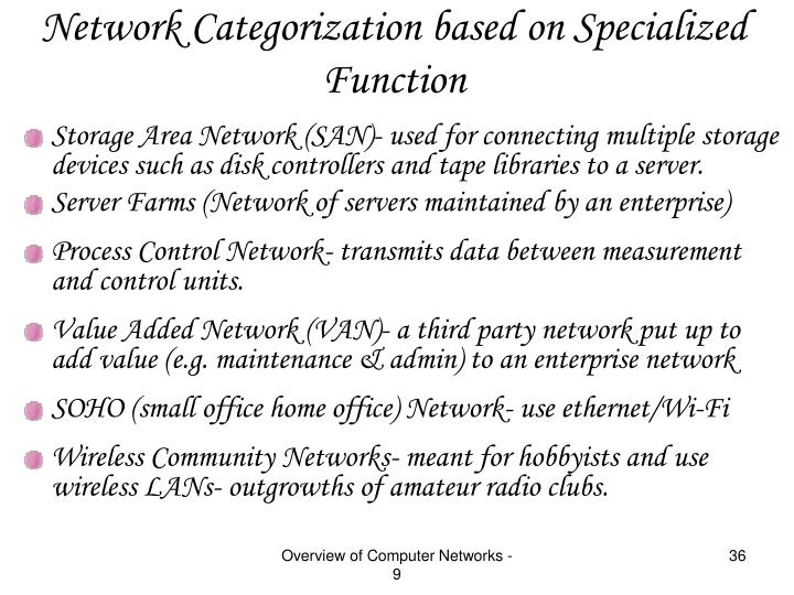 Network Categorization based on Specialized Function
