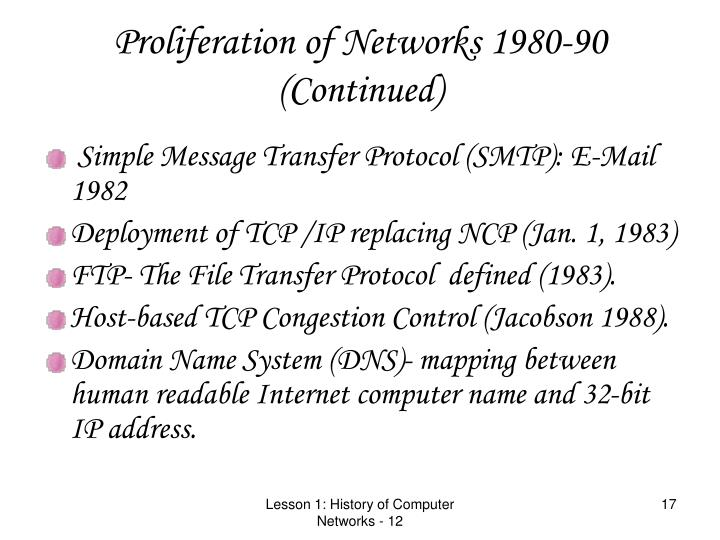 Proliferation of Networks 1980-90 (Continued)