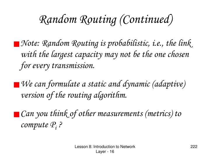 Random Routing (Continued)