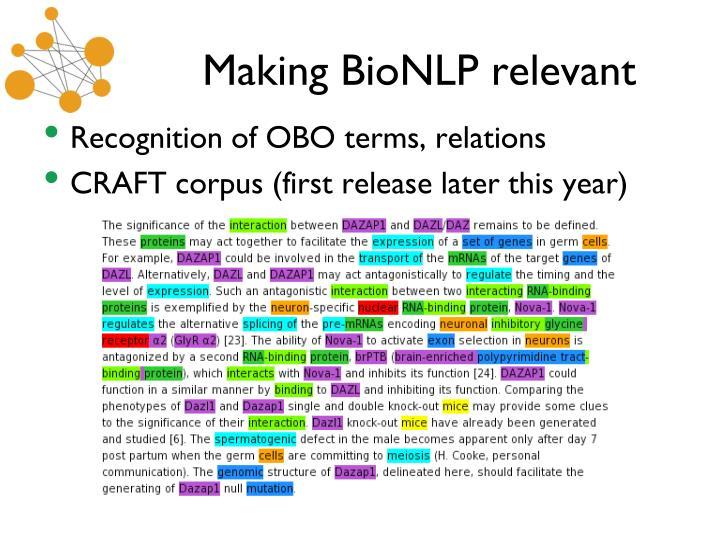 Making BioNLP relevant