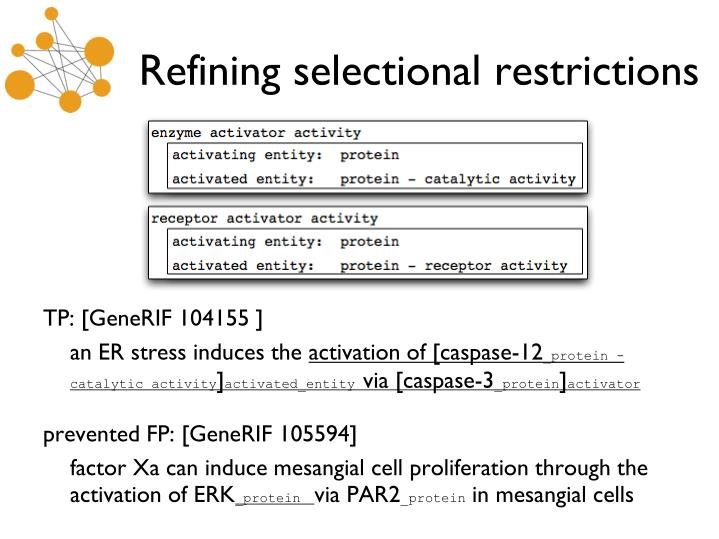 Refining selectional restrictions