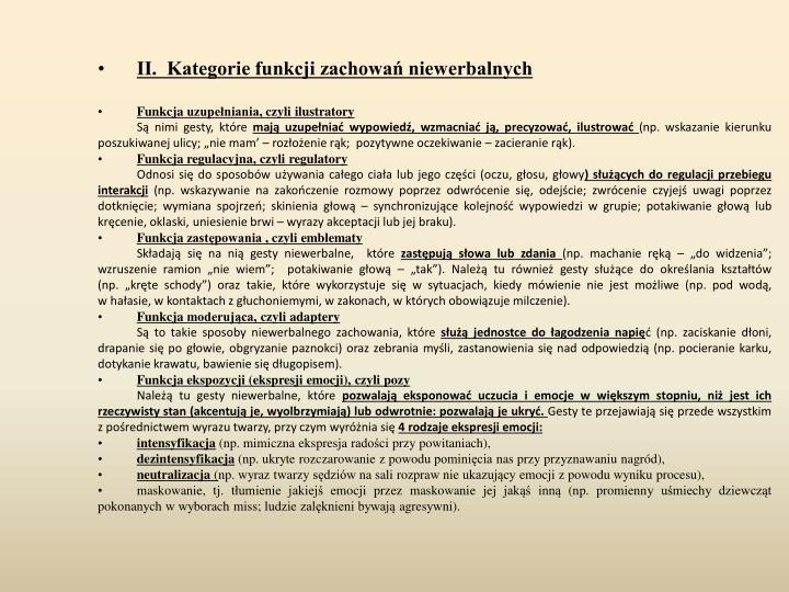 II.  Kategorie funkcji zachowań niewerbalnych