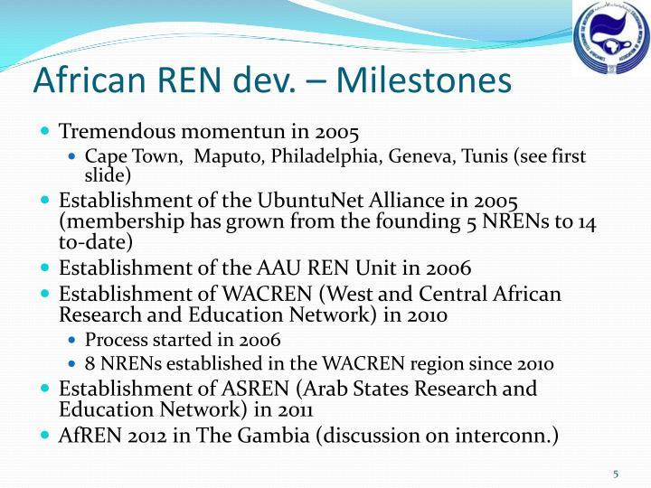 African REN dev. – Milestones