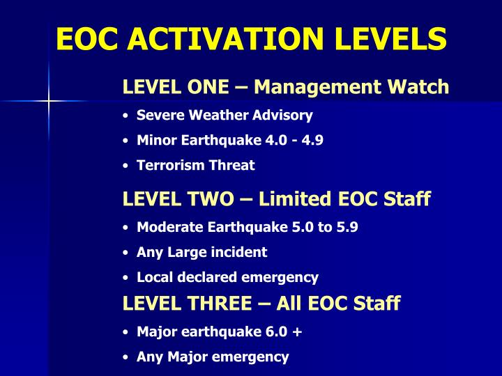 EOC ACTIVATION LEVELS