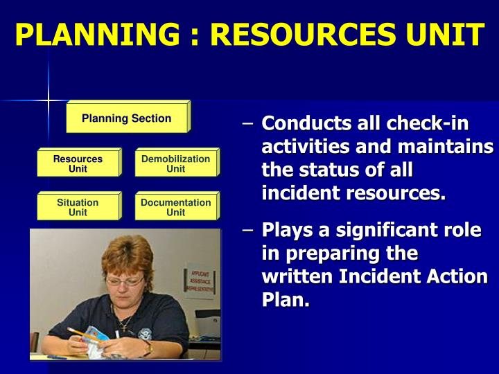 PLANNING : RESOURCES UNIT