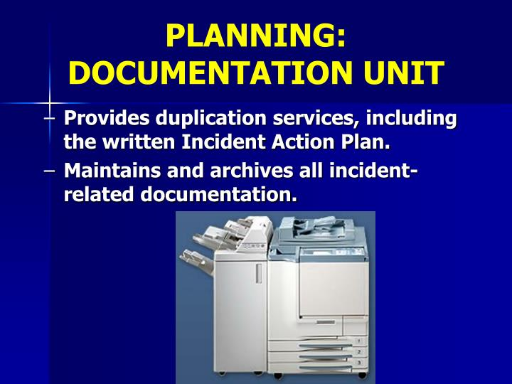 PLANNING:                 DOCUMENTATION UNIT