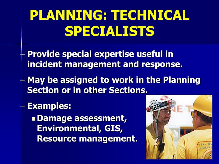 PLANNING: TECHNICAL SPECIALISTS