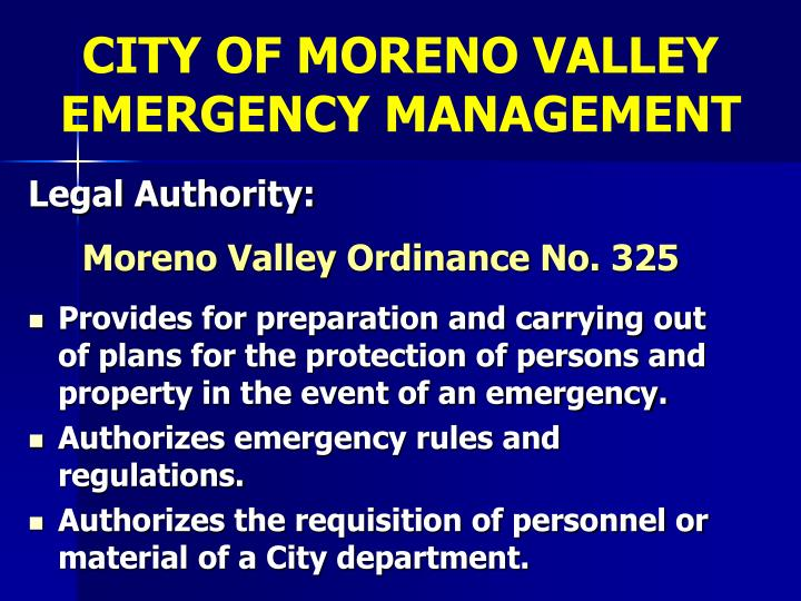 CITY OF MORENO VALLEY EMERGENCY MANAGEMENT