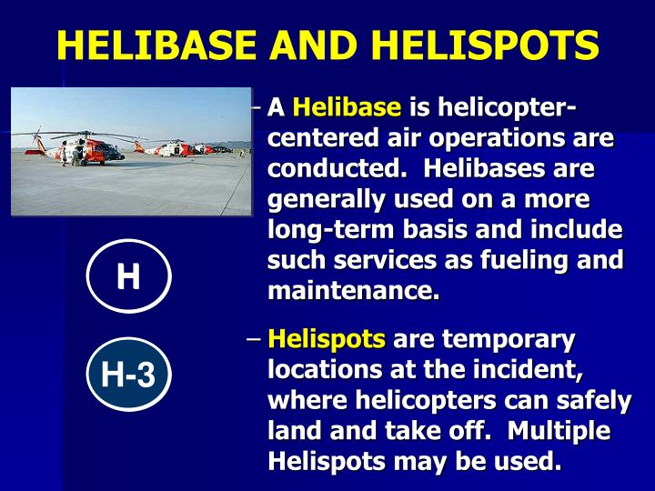 HELIBASE AND HELISPOTS
