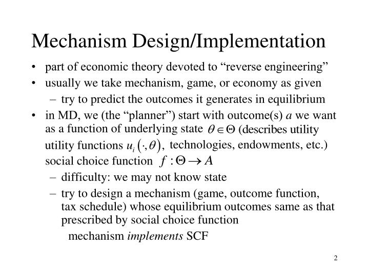 Mechanism Design/Implementation