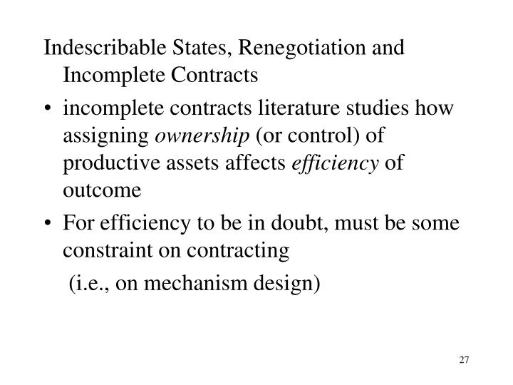 Indescribable States, Renegotiation and Incomplete Contracts