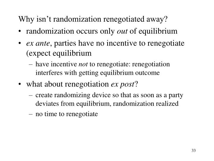 Why isn't randomization renegotiated away?
