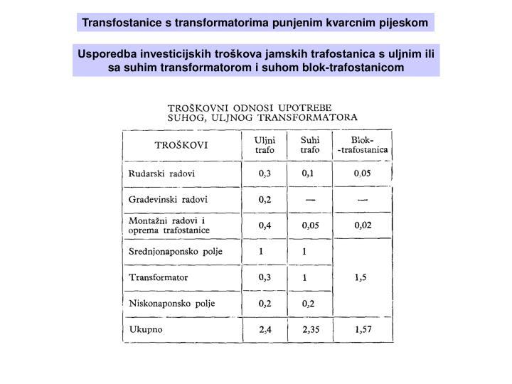 Transfostanice s transformatorima punjenim kvarcnim pijeskom