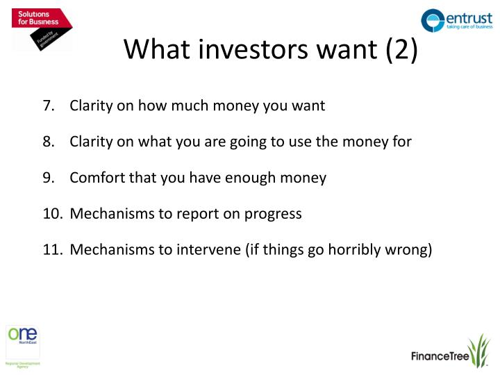 What investors want (2)