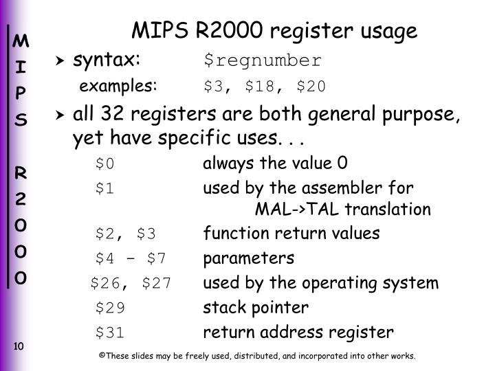 MIPS R2000 register usage