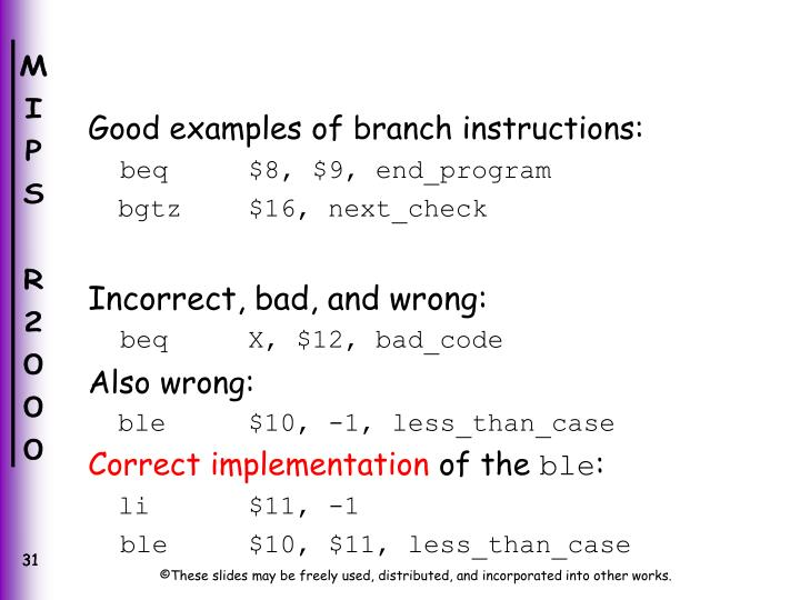 Good examples of branch instructions: