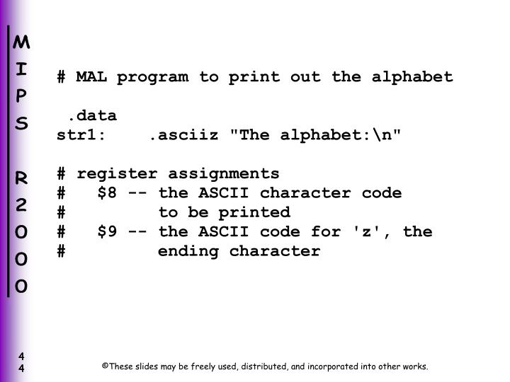 # MAL program to print out the alphabet