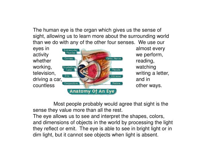 The human eye is the organ which gives us the sense of sight, allowing us to learn more about the su...