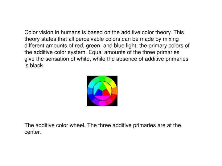 Color vision in humans is based on the additive color theory. This theory states that all perceivable colors can be made by mixing different amounts of red, green, and blue light, the primary colors of the additive color system. Equal amounts of the three primaries give the sensation of white, while the absence of additive primaries is black.