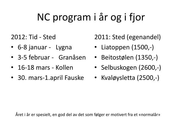 NC program i år og i fjor