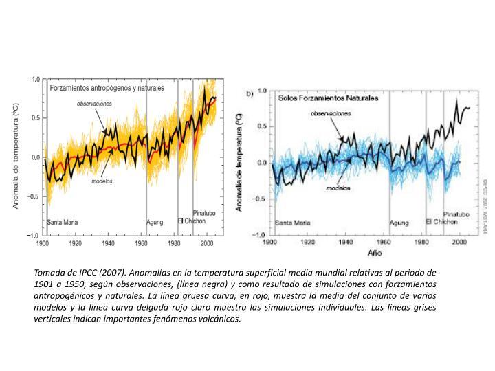 Tomada de IPCC (2007). Anomalías en la temperatura superficial media mundial relativas al periodo de 1901 a 1950, según observaciones, (línea negra) y como resultado de simulaciones con forzamientos antropogénicos y naturales. La línea gruesa curva, en rojo, muestra la media del conjunto de varios modelos y la línea curva delgada rojo claro muestra las simulaciones individuales. Las líneas grises verticales indican importantes fenómenos volcánicos.
