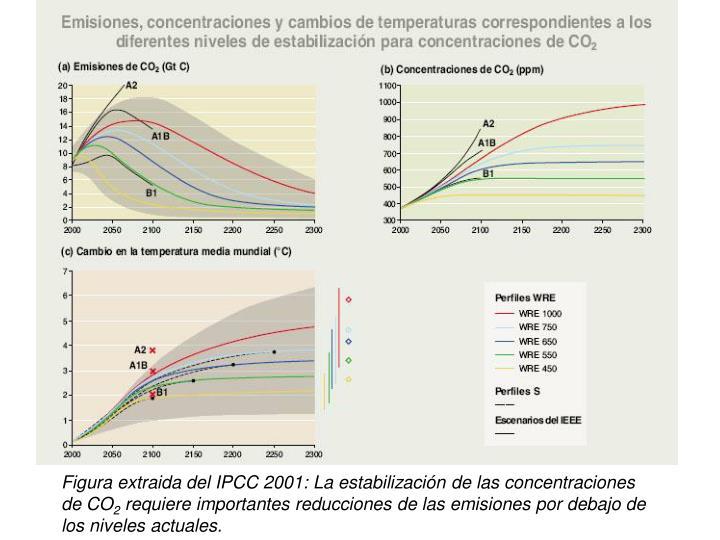 Figura extraida del IPCC 2001: La estabilización de las concentraciones de CO