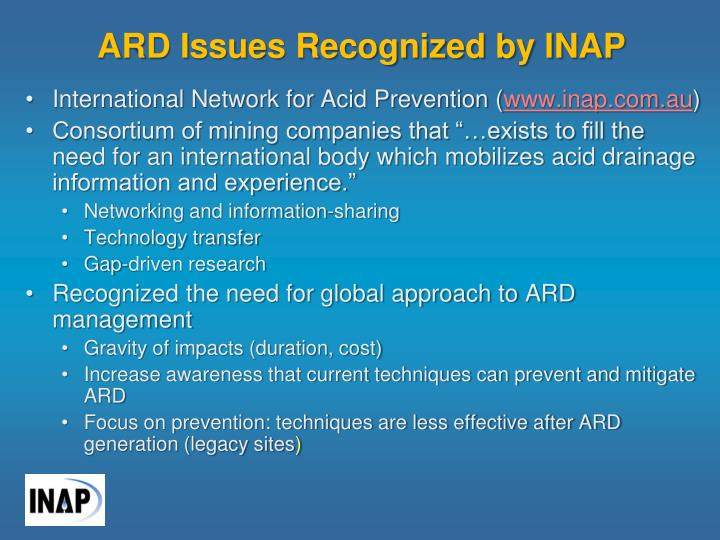 ARD Issues Recognized by INAP