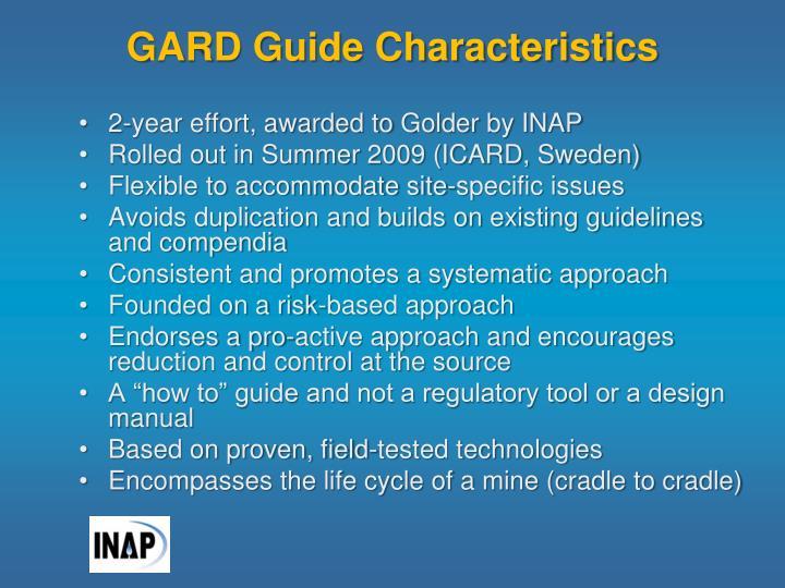 GARD Guide Characteristics
