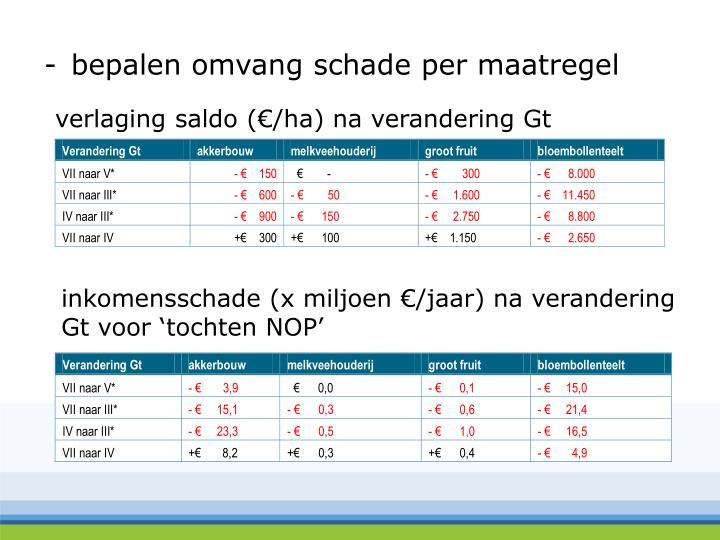 verlaging saldo (€/ha) na verandering Gt
